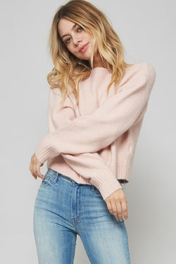 Girl wearing Blush Pink Sweater