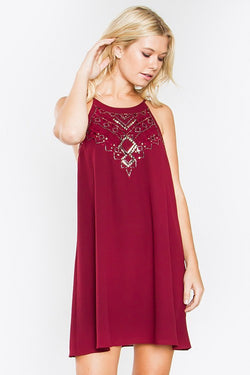 Burgundy Beaded Cocktail Swing Dress with Mock Neck