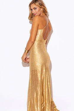 Gold Metallic Embellished Evening Dress