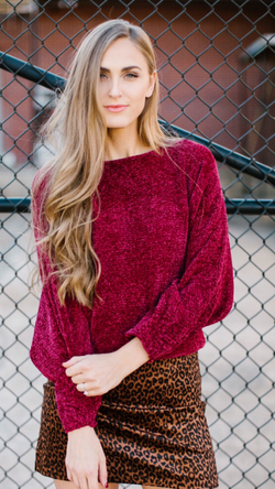 Burgundy Chenille Sweater Paired with Leopard Skirt