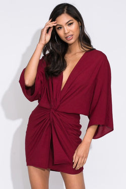 Twisted Front Kimono Sleeve Dress - Marsala