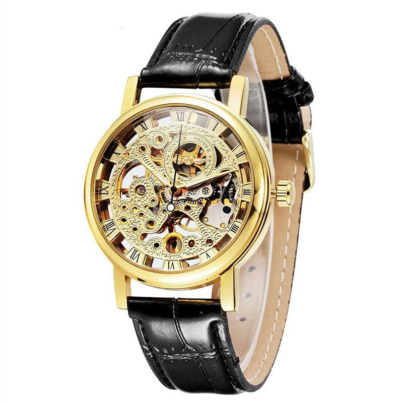 Skeleton leather watch