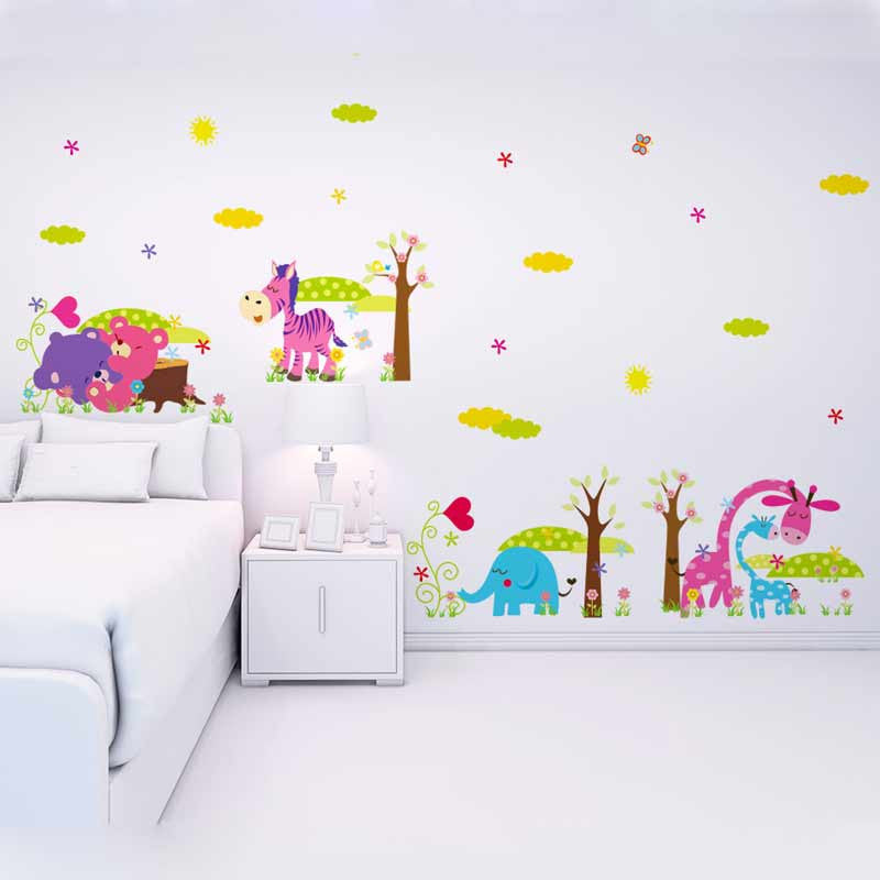 4pc=4Styles Forest Animals Removable Wall Stickers For Kids Decorative Wall Decal Baby Room Bedroom Decor Adesivo De Parede