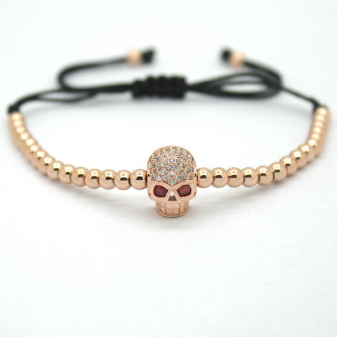 Bracelet Braided Leather Lion Head