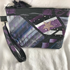 Purple Up Cycled Neckties - Postcard Bag