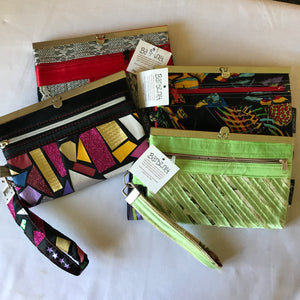 Lime Green Caribbean Wallet - Repurposed Home Dec Fabric - Wallet Deluxe -  Barbz.net