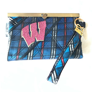 SOLD SALE - Blue plaid Woman's Wisconsin Clutch Wallet Wristlet - Barbz.net