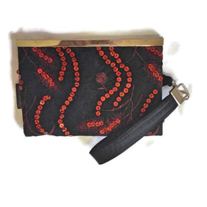 Wisconsin Motion W Wallet in Red and Black Sequin