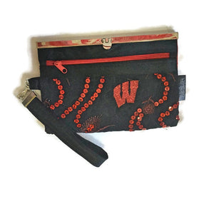 SOLD Wisconsin Motion W Wallet in Red and Black Sequin