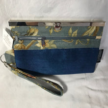 Repurposed Home Dec Fabric - Blue Hand Dyed Silk- Wallet Deluxe