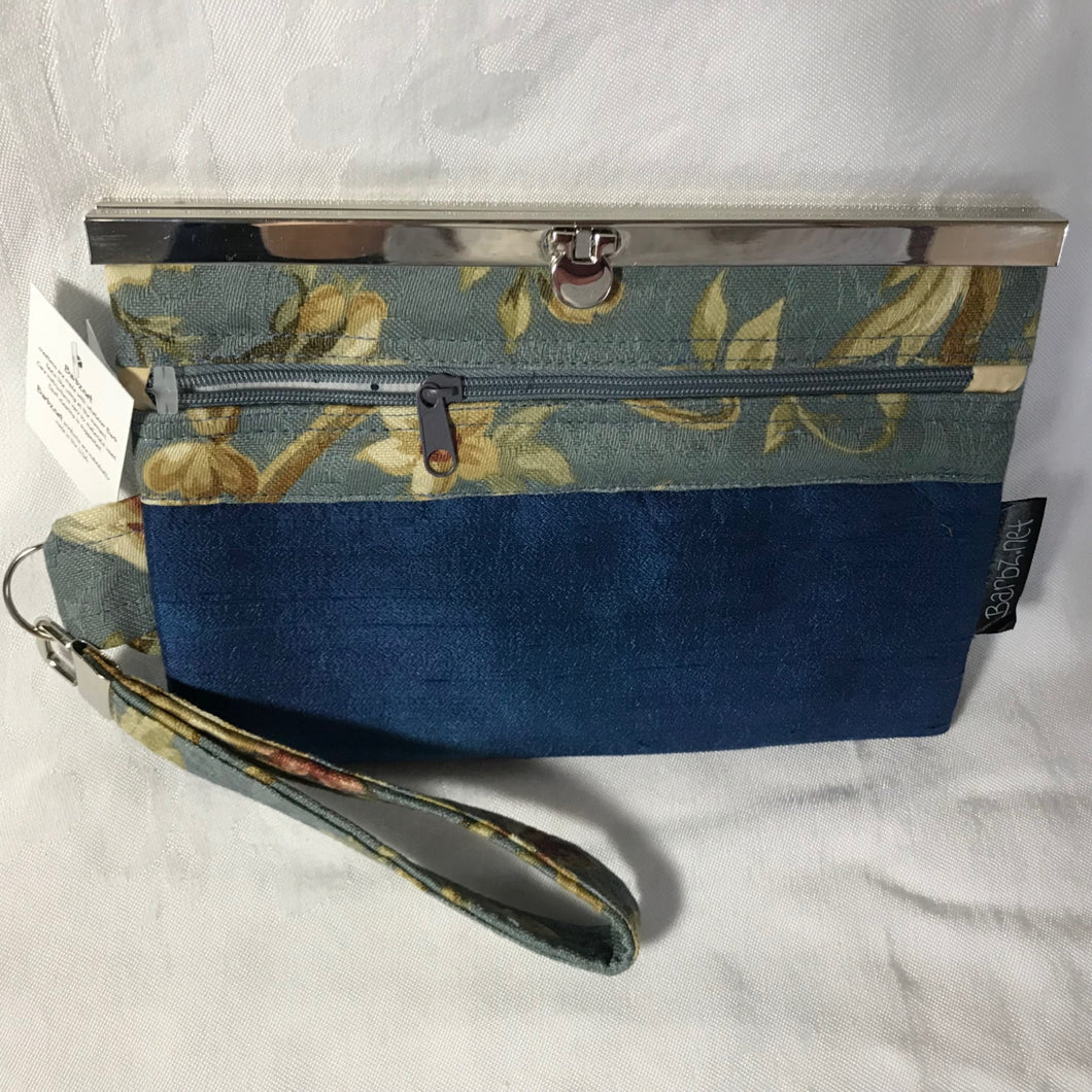 Repurposed Home Dec Fabric - Blue Hand Dyed Silk- Wallet Deluxe -  Barbz.net