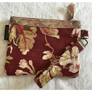 Vintage Burgundy Floral Decorator Fabric - Postcard Bag