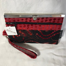 Red and black - Sequin and Silk Velvet- Wallet Deluxe