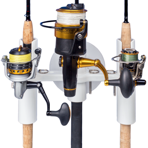 Front view of Pro Series 3-Rod Holder with rods