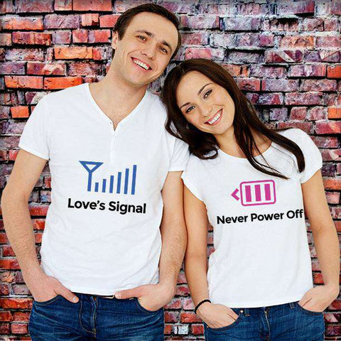 ♥📶 Love's Signal Never Power Off T-Shirt For Lovers♥📶