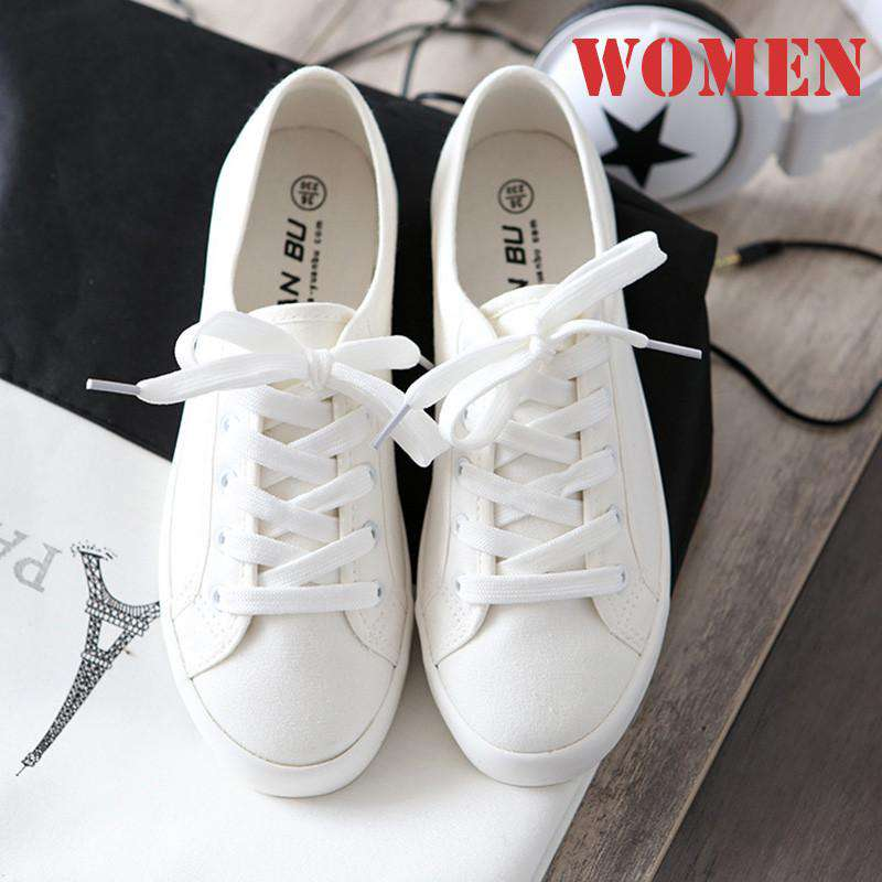 **20% Discount** Canvas White Flat Shoes