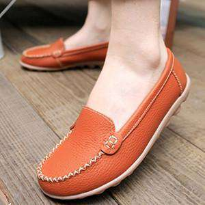 Flat Genuine Leather Mother Shoes Soft Leisure