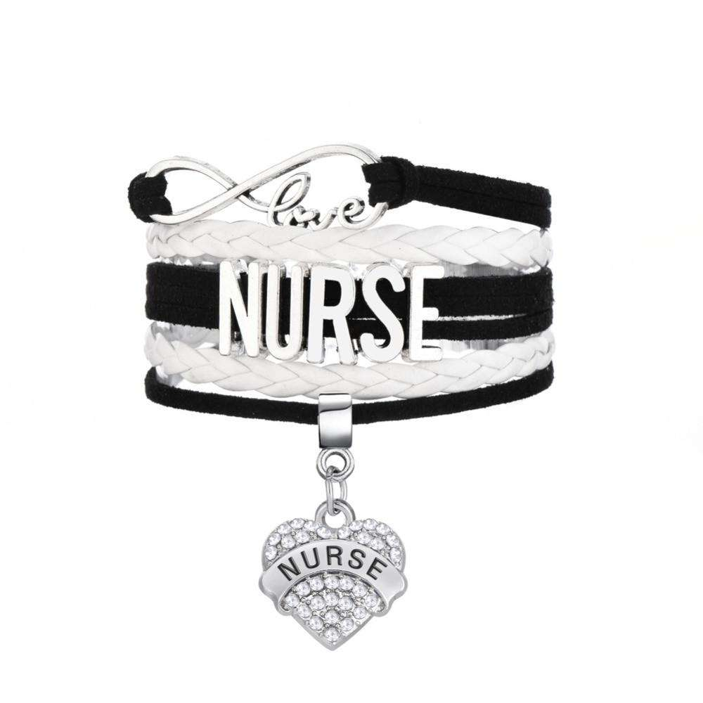 Nurse Crystal Clear Heart Charm Bracelet