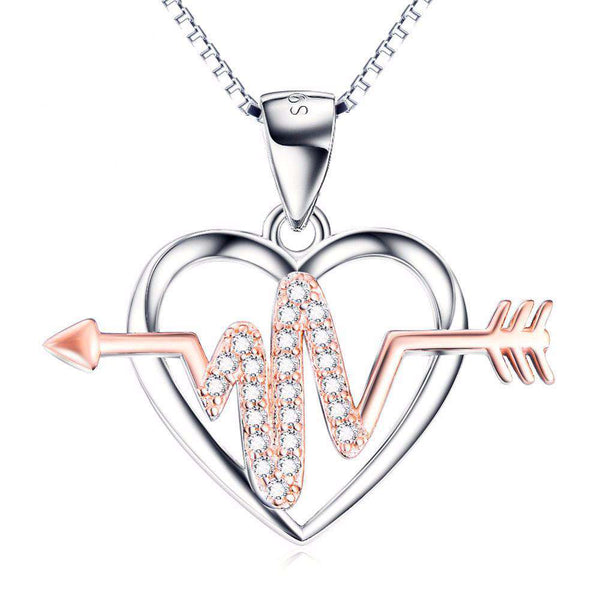 **15% Discount** Sterling Crystal Arrow Heart Necklace