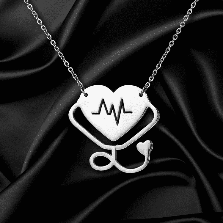 **29% Discount** Stethoscope Heartbeat Pendant Choker Necklace