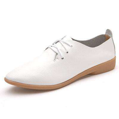 **31% Discount** Women Flat White Leather Shoes