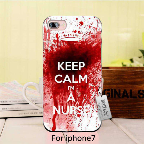 Keep calm i'm a nurse Colourful Style Design Plastic PC Cell Black Phone Case For iPhone 7 case