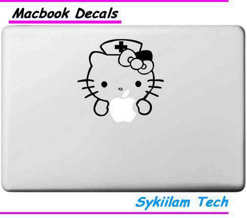 Cartoon for Hello Kitty White Nurse for apple Sticker Macbook Skin Air 11 13 Pro 13 15 17 Retina Decal Laptop Car Vinyl Logo