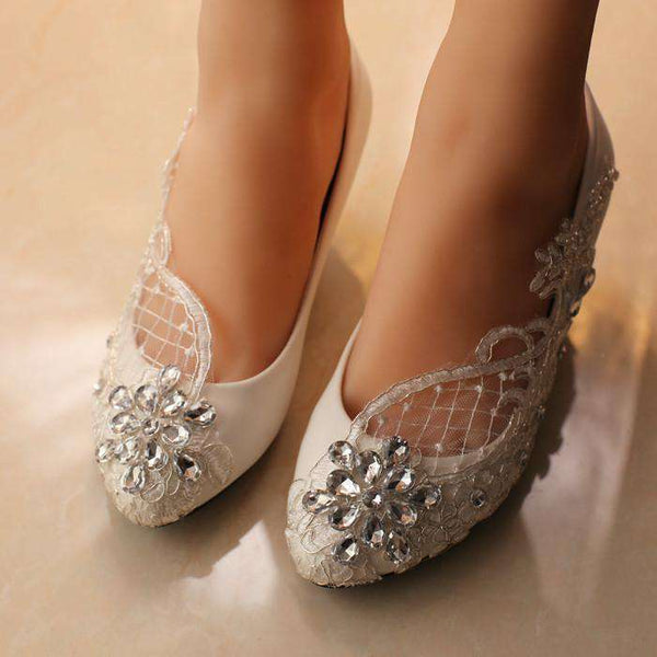 **13% Discount** Wedding Women White Pumps