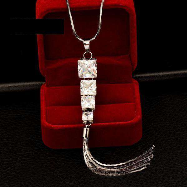 **33% Discount** White Square Cubic Zircon Necklace