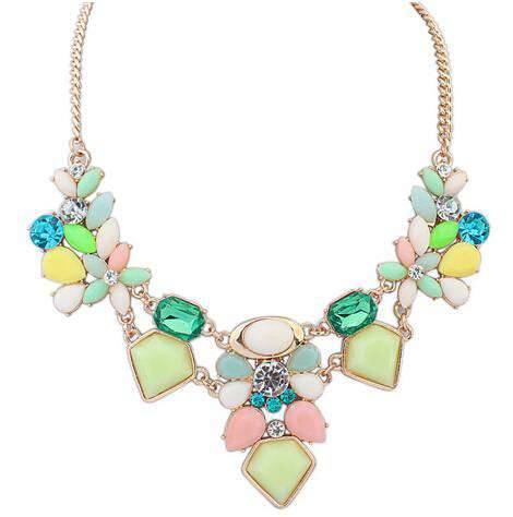 Colorful Charm Gem Flower Choker Necklaces