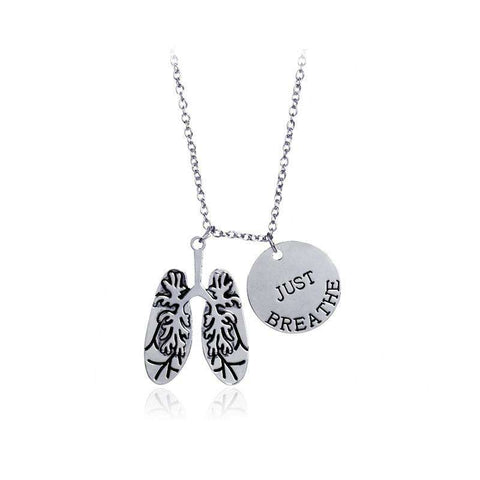 """JUST BREATH"" Body Parts Light Medicine Anatomy Biology Light Anatomic Necklace"