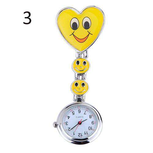Heart Clip-On Pendant Nurse Fob Brooch Pocket Watch