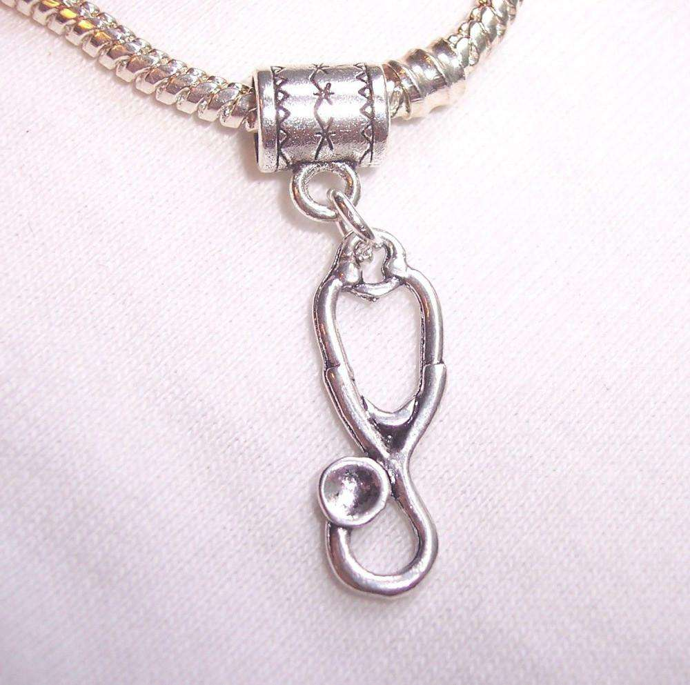 "<b class=""blink_me"">**19% Discount**</b><br> Silver Stethoscope Charm"