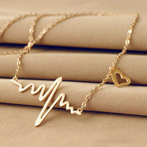"<b class=""blink_me"">**50% Discount**</b><br>Wave Heart ECG Necklace"