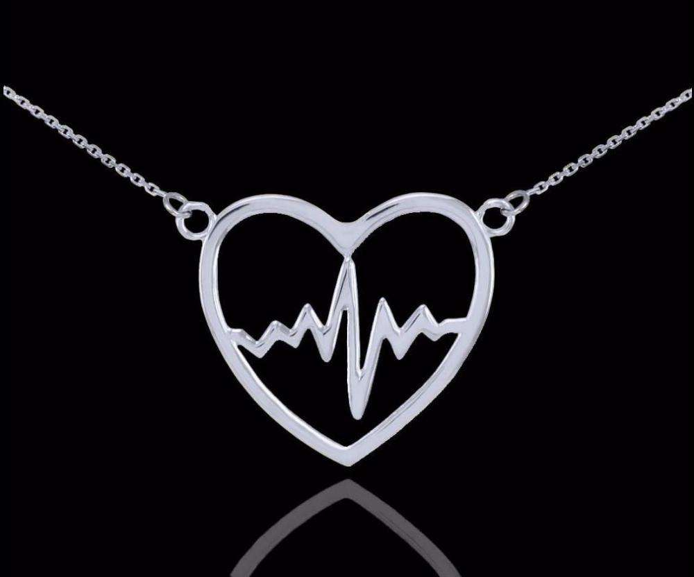 20pcs Heartbeat Pulse Pendant Necklace Nurse Doctor Patien Health Love Boho Necklace SGL242