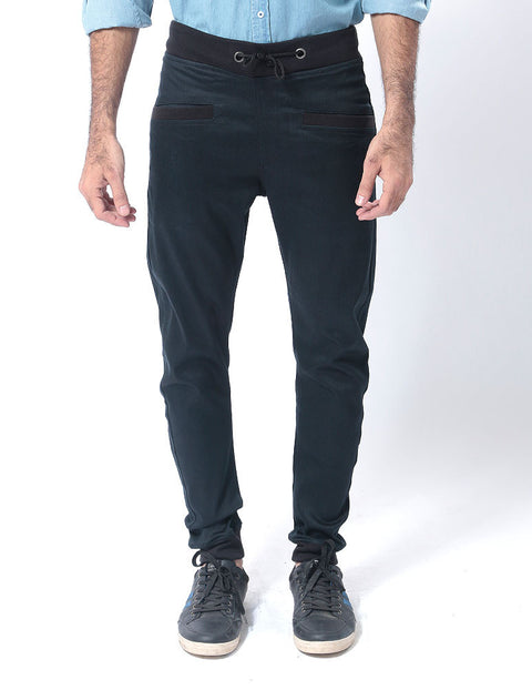 March Black Denim Sweatpant W Black Rib & String for Men