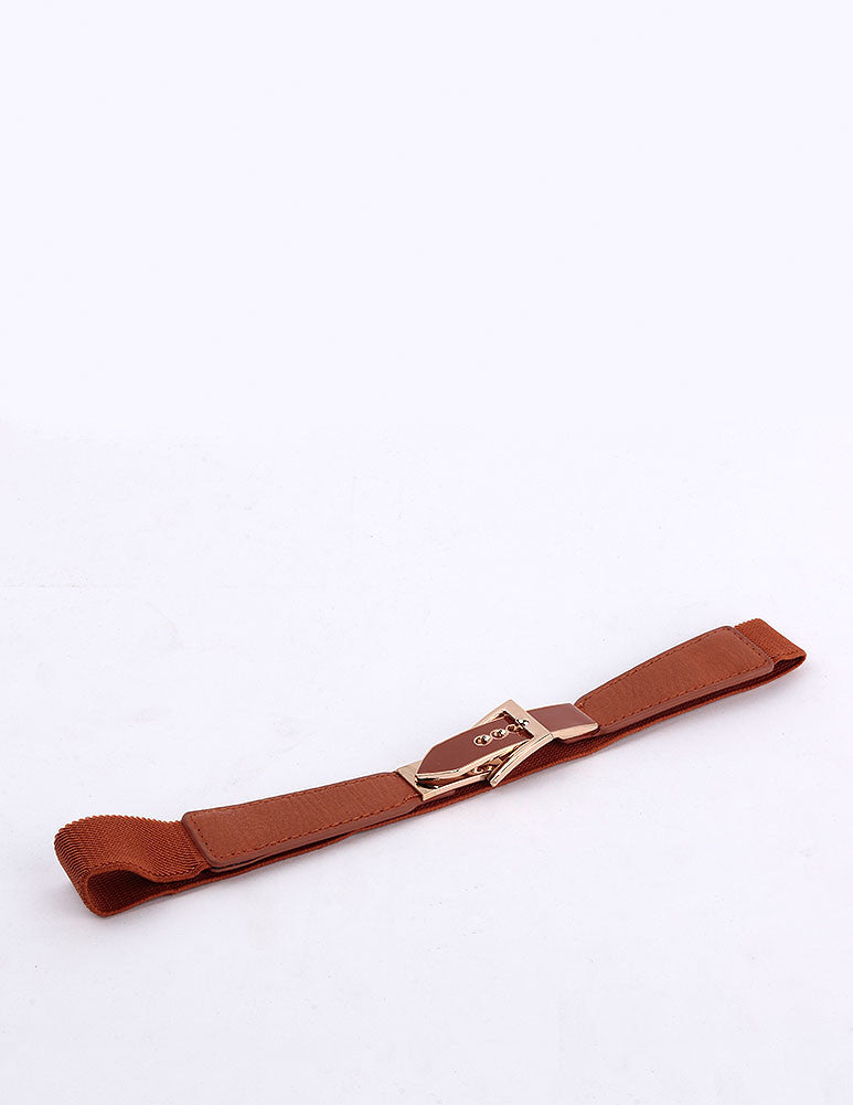 March Brown Leather Belt W Golden Buckle