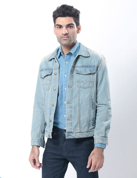 March Faded Denim Jacket with Sand Blasting & Silver Buttons for Men