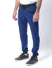 March Royal Blue Denim Sweatpant W Black Rib & String for Men