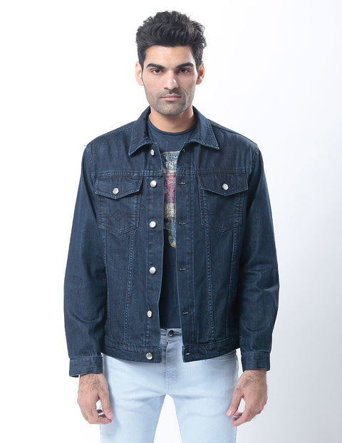 March Dark Denim Jacket with Muted Blasting & Silver Buttons for Men