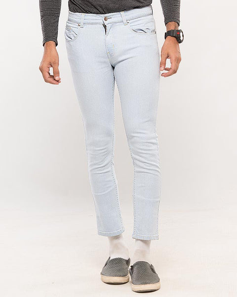 March Ice Blue Slim Fit Cropped Jeans for Men