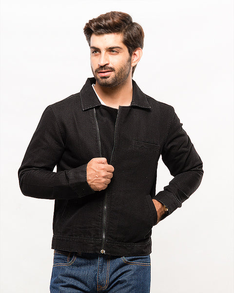 Black Double Breasted Coated Denim Jacket for Men