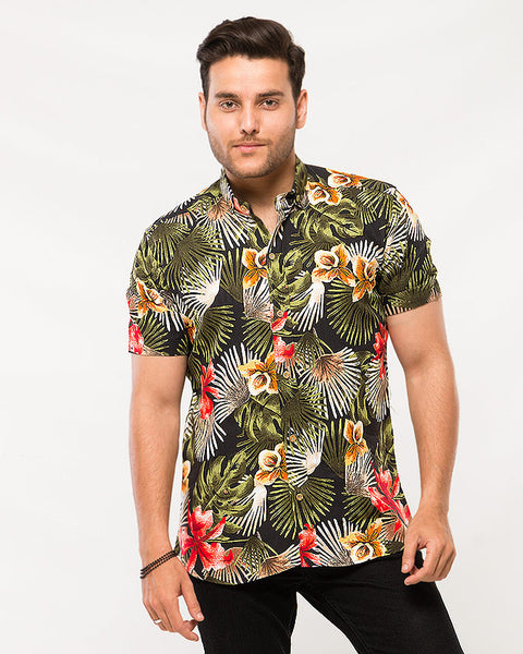 Asset Palmette with Red Chinese Roses Printed Black Soft Linen Shirt with Half Sleeves for Men