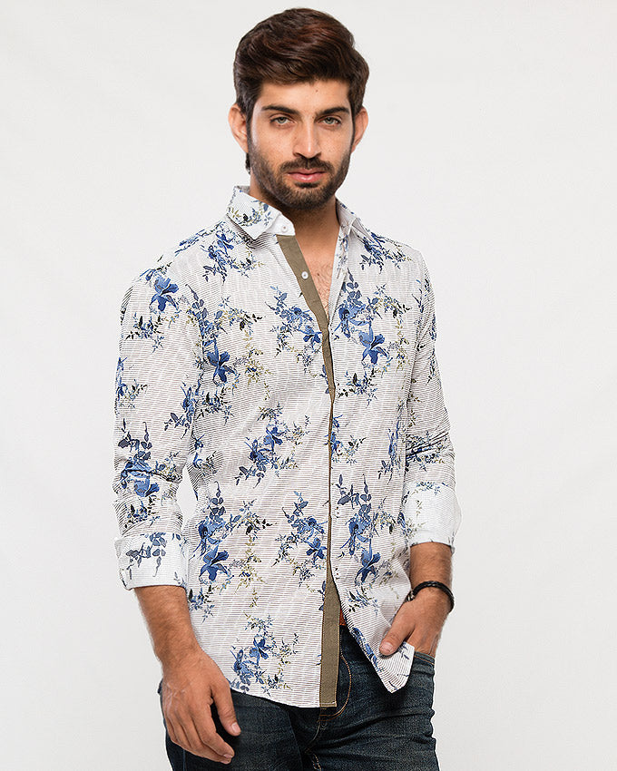 March White Cotton Shirt W Blue Floral Print for Men