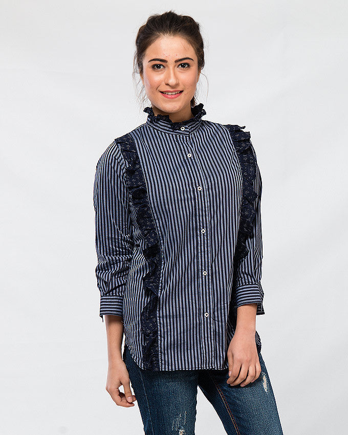 March Blue Pinstripe Stretchy Shirt W Frills for Women