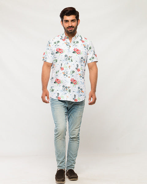 March Red Hibiscus Polynesian Printed White Soft Linen Shirt with Half Sleeves for Men
