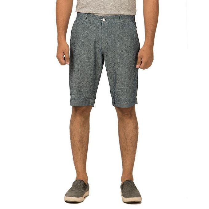 March Oxford Denim Grey Shorts with a Fancy Red Trim on Inside Waistband for Men