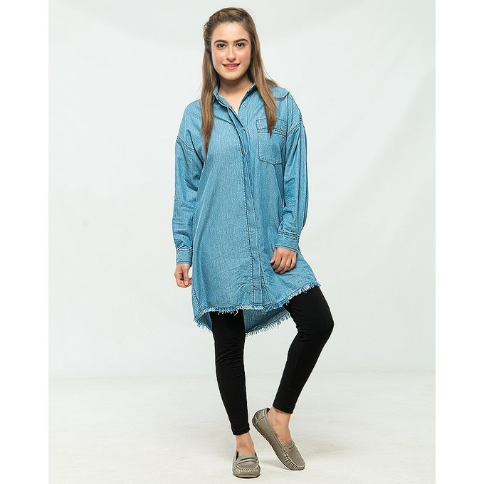 Nurai light Blue Oversize Denim Shirt for Women