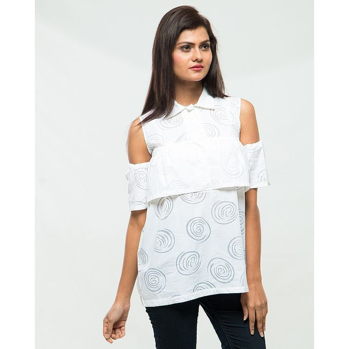 March Off White Swirls Off-Shoulder Top for Women
