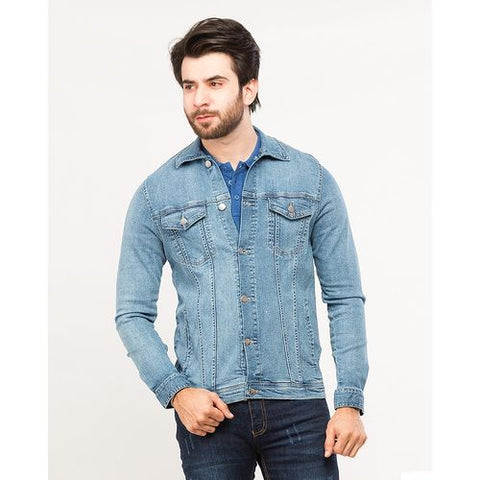 Dark Blue Traditional Denim Stretch Jacket with Frosting and Silver Buttons for Men